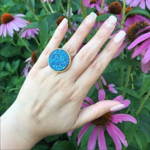 NEW Urban Outfitters Blue Purple Faux Druzy Ring
